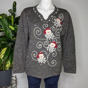 Vintage Timberlea grey Santa sweater size M